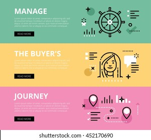 Flat line web banners of manage a sale. Line steering wheel, woman avatar and road map for websites and marketing materials with call to action buttons, ready to use