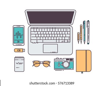 Flat line workplace concept. Laptop, smartphone, pen, notebook, glasses, camera top view isolated on white