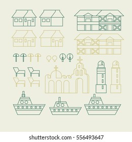 Flat linear city Infographic. Vector town illustration