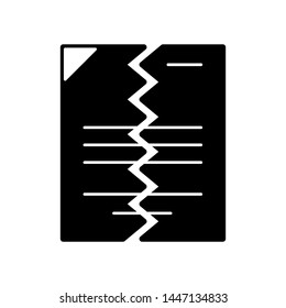Flat linear design. File or document icon for applications, web sites and public use. Vector illustration. Torn in half paper sheet with abstract text. Torn office work paper. Black and white.