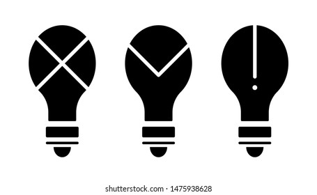 Flat linear design. Idea icon for apps, web sites and public use. Electric lamp with symbols. Concept - Bad idea, good and mistake of thought. - Vector