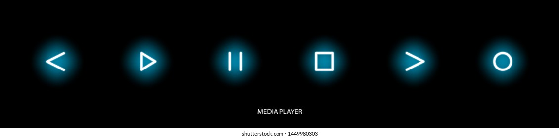 Flat linear design. Media player icon for applications, web sites and public use. Vector illustration. Touch control buttons - pause, play, forward and rewind, stop, record. Glowing touch buttons.