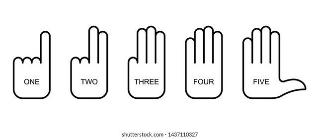 Flat linear design. Palm sign icons for mobile apps, web sites and public use. Vector illustration. Palm with straightened fingers. Count up to five. One two three four five. Ready set Go.