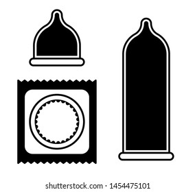 Flat linear design. Set of contraceptive icons for applications, web sites and public use. Packed, unpacked and straightened condom. Concept - Modern contraception - Vector.