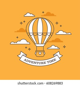 Flat linear illustration with air balloon flying in the sky on orange background. Creative concept for travel and adventure banner or poster design.