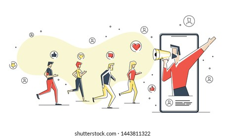 Flat linear illustration of Online Followers concept, Human with megaphone on screen, blogger using mobile phones and social media to promote services and goods for followers online. isolated on white