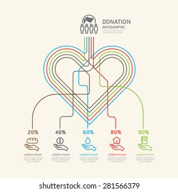 Flat linear Infographic Charity and Donation Outline concept.Vector Illustration.