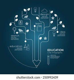 Flat linear Infographic Education Pencil Tree Outline concept.Vector Illustration.