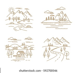 Flat linear landscape and nature flat background