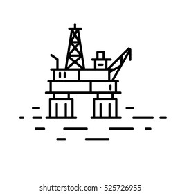 Flat linear oil or gas rig  (offshore platform) illustration