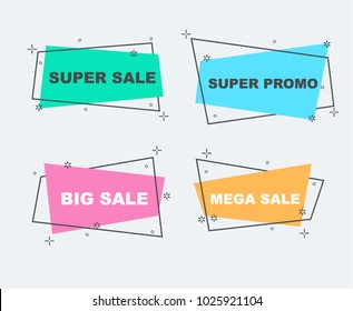 Flat linear promotion ribbon banner, mega sale, big sale, discount, scroll, price tag, badge, poster.
