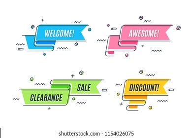 Flat linear promotion ribbon banner, scroll, price tag, poster. Vector illustration set