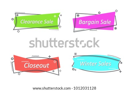 flat linear promotion ribbon banner scroll のベクター画像素材