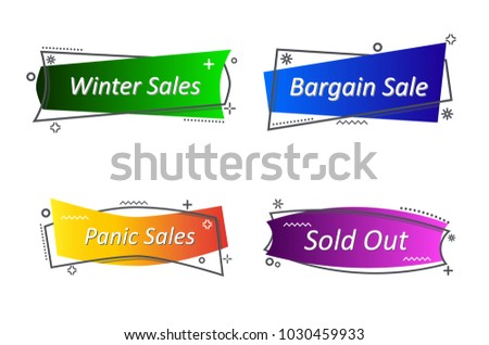 Flat Linear Promotion Ribbon Banner Scroll Stock Vector Royalty