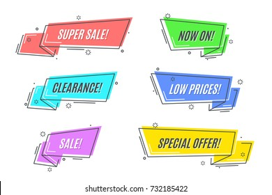 Flat linear promotion sticker, scroll, price tag, sticker, badge. Vector illustration
