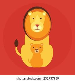 Flat lion family