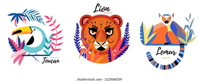Flat lion, lemur,toucan  in geometric cartoon style.Hand drawn vector illustration. Isolated objects. Scandinavian style flat design. Concept for children print.