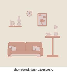 flat living room vector