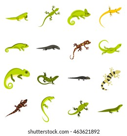 Flat lizard icons set. chameleon and iguana icons isolated vector illustration