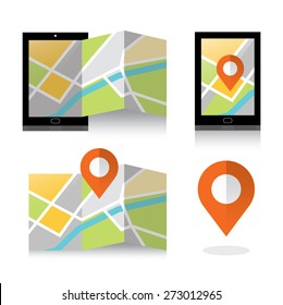 flat location icon on smartphone. Mobile GPS Navigation concept. vector illustration