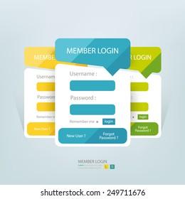 Flat login member form.
