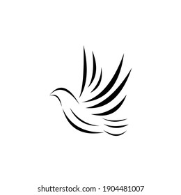 the flat logo of a dove flying high