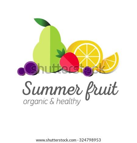Flat Logo Fruit Symbol Typography Icon Stock Vector Royalty Free