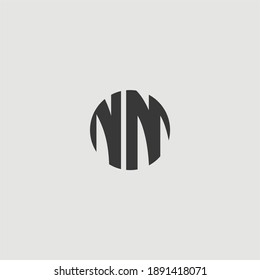 Flat logo and icon of NM or MN alphabet for company branding. NM monogram with flat shape.