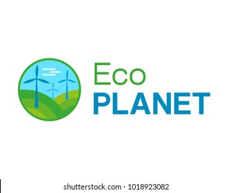Flat logo, icon shape a circle. Three big eco windmills in beautiful place with green grass and blue sky. Modern ecology society. From the text eco planet, minimal graphic design, clean planet concept