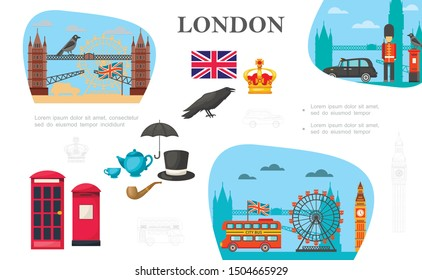Flat London concept with Big Ben Tower Bridge London Eye raven crown teapot cup smoking pipe hat umbrella phone booth british guard vector illustration