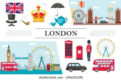 Flat London elements composition with british guard royal crown UK flag umbrella phone booth bus car tea cup smoking pipe famous attractions vector illustration