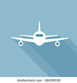 Flat long shadow airplane icon. Front view flying aircraft
