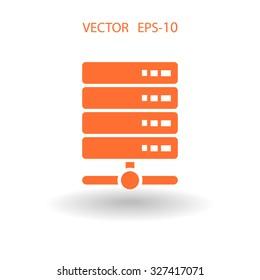 Flat long shadow Computer Server icon, vector illustration