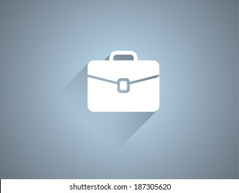 Flat long shadow icon of briefcase