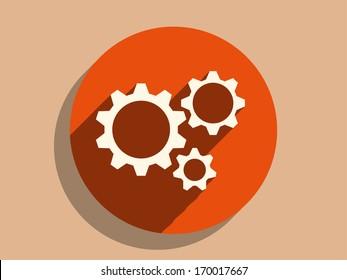 Flat long shadow icon of gears