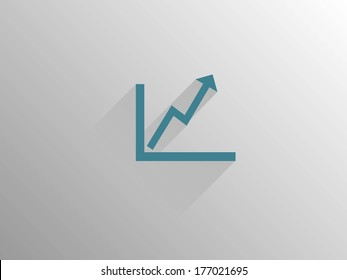 Flat long shadow icon of graph