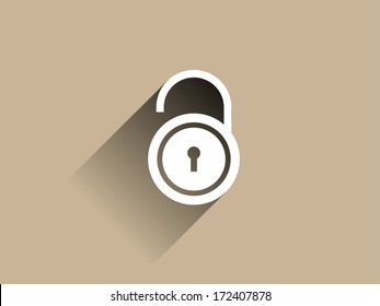 Flat long shadow icon of lock