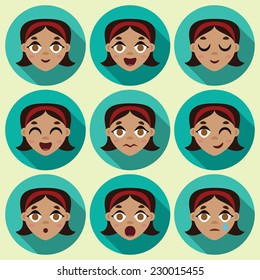 Flat long shadow round icons with human emotions. Vector set.