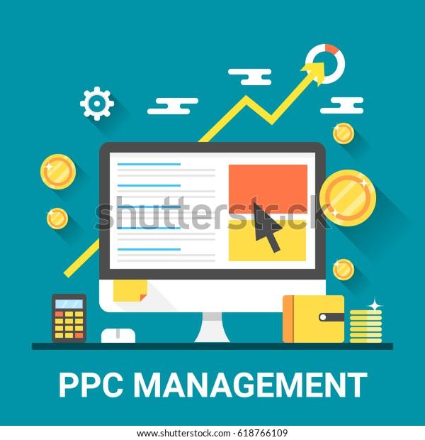 Concepto de vectores de sombra plana y larga duración de la gestión de ppc, marketing de búsqueda, publicidad pagada y medios digitales aislados en fondo azul
