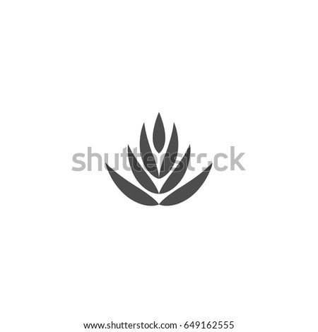 Flat Lotus Flower Icon Isolated On Stock Vector Royalty Free