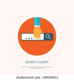 Flat loupe icon. SEO. Search engine optimization. Data finding. Content analyzing.