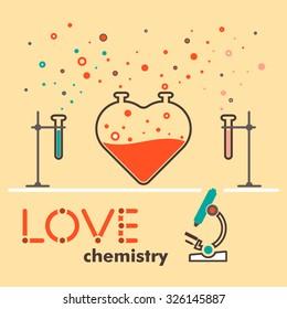 flat love, love chemistry, flat line heart, love, love concept, love design, love laboratory, infographic