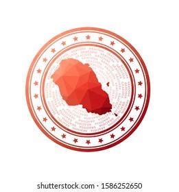 Flat low poly stamp of Graciosa. Polygonal Graciosa badge. Trendy vector logo of the island.