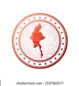 Flat low poly stamp of Myanmar. Polygonal Myanmar badge. Trendy vector logo of the country.
