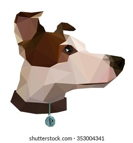 Flat low poly vector illustration of jack-russel terrier head with dog-collar and silver badge. Made in polygonal style isolated on the white background.