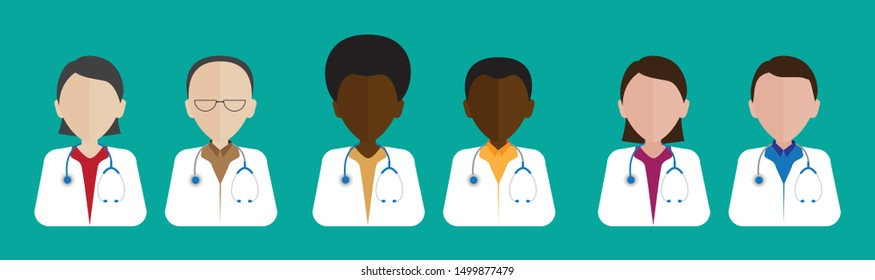 Flat male and female doctors healthcare vector illustration people cartoon avatar profile characters icon set. Health care hospital medical staff: doctor, nurse. Professional medicine team concept