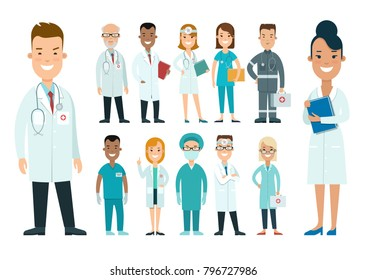 Flat male and female doctors healthcare vector illustration people cartoon characters icon set. Health care hospital medical staff in uniform: doctor, nurse. Professional medicine team concept.