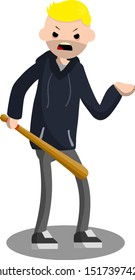 Flat man with baseball bat. Aggressive guy in hoodie. Problem of urban security. robber with bat. Cartoon flat illustration. Extortion of money by bully