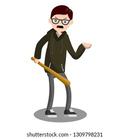 Flat man with a baseball bat. Extortion of money by the bully. Aggressive guy in a hoodie. The problem of urban security. The robber with the bat. Cartoon illustration