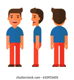 Flat man Character with different poses and front, side and back view
